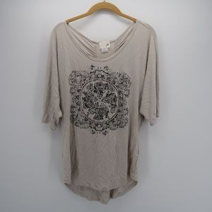JOH Women's Cream Beaded Printed Top Blouse Size L